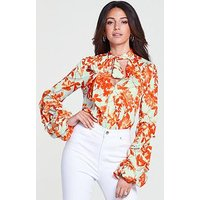 Michelle Keegan Gathered Sleeve Printed Woven Body Suit - Print , Print, Size 12, Women