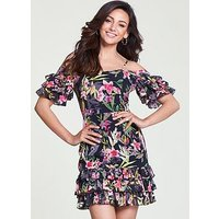 Michelle Keegan Ruffle Cold Shoulder Dress - Print, Print, Size 14, Women