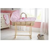 Clair De Lune Tippy Toes Palm Moses Basket, Pink