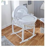 Product photograph showing Clair De Lune Stars Amp Stripes Wicker Moses Basket - White Wicker