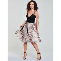 Myleene Klass Embroidered Skirt Plunge Neckline Prom Dress