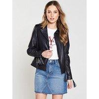 V by Very Tassel Detail Leather Biker - Black , Navy/Black, Size 18, Women