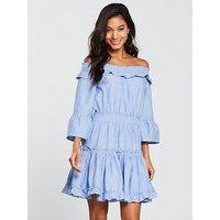 V by Very Bardot Cotton Ra-Ra Dress - Blue, Blue, Size 12, Women