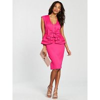 V by Very Peplum Bow Pencil Dress - Pink, Pink, Size 8, Women
