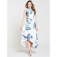 V By Very Premium Printed Lace High Low Maxi Dress - Blue Print
