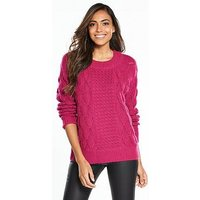 Vila Satira Long Sleeve Knit Top, Pink, Size 6=Xs, Women