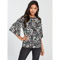 V by Very Tiered Detail Printed Top, Floral Print, Size 12, Women