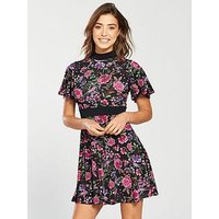 V by Very Jersey Printed Skater Dress, Floral Print, Size 14, Women
