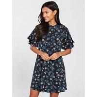 V by Very Frill Neck Printed Jersey Dress, Ditsy Print, Size 20, Women