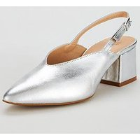 V by Very Leroux Leather Slingback Court - Silver, Silver, Size 6, Women