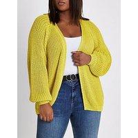 RI Plus Ri Plus Chunky Cardigan- Yellow, Yellow, Size 26-28, Women