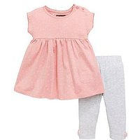 Mini V by Very Baby Girls Jersey Heart Tunic & Legging Set, Pink, Size Age(Months): 0-3 Months (14.5Lbs)