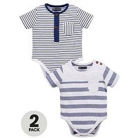Mini V by Very Pack of 2 Baby Boys Bodysuits - Navy/Stripe, Navy, Size Age(Months): 6-9 Months (20Lbs)