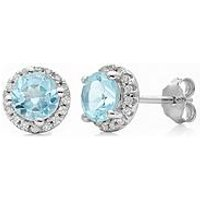 Love GEM STERLING SILVER SKY BLUE TOPAZ STONE AND WHITE CUBIC ZIRCONIA HALO STUD EARRINGS, One Colour, Women