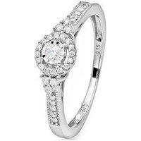 Love DIAMOND Love Diamond 9ct white gold 15 point DIAMOND illusion plate vintage style ring, One Colour, Size P, Women