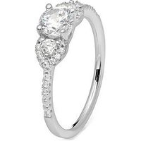 The Love Silver Collection STERLING SILVER WHITE CUBIC ZIRCONIA ELEGANT TRILOGY RING, One Colour, Size L, Women
