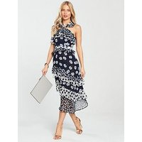 V by Very Mixed Print Midi Dress, Blue Print, Size 14, Women