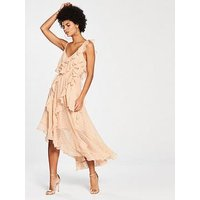 V by Very Frill Dobby Maxi Dress, Blush, Size 8, Women
