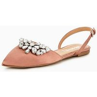 Head over Heels Hetty Embellished Two Part Point Ballet Shoes - Blush, Blush, Size 4, Women