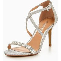 Head over Heels Missy Cross Strap Embellished Vamp Sandal - Silver, Silver, Size 8, Women