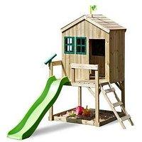 Tp Forest Cottage Wooden Playhouse &Amp; Slide
