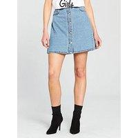 Noisy may Sunny Short Skater Skirt - Light Blue Denim, Light Blue Denim, Size 10=M, Women