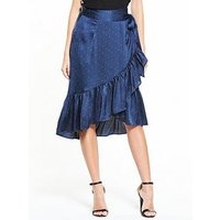 Vero Moda Henna Satin Dot Wrap Skirt, Print, Size 10=M, Women