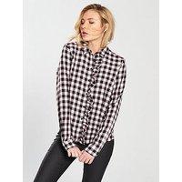 Noisy may Noisy May Erika Long Sleeve Front Frill Shirt, Check Print, Size 8=S, Women