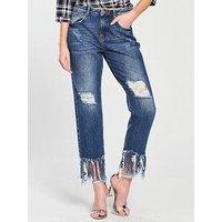 Noisy may Liv Nw High Low Hem Jeans, Medium Blue Denim, Size 28, Inside Leg 32, Women