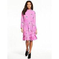 Vero Moda Elena Long Sleeve Tiered Printed Tea Dress - Mauve, Mauve, Size 10=M, Women
