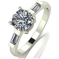 MOISSANITE 9ct White Gold 1.25ct Total Ring, Gold, Women