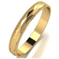 Love GOLD 9ct Gold Patterned 3mm D Shaped Wedding Band, Rose Gold, Size Y, Women