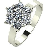 MOISSANITE 9ct White Gold 1ct Equivalent Flower Cluster Ring, Gold, Size Z, Women
