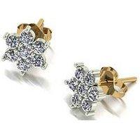MOISSANITE 9ct Gold Cluster Flower Cluster Earrings, White Gold, Women