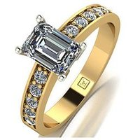 Moissanite Lady Lynsey 9ct Gold 1.35ct total Emerald Cut Centre Moissanite Solitaire Ring, White Gold, Size M, Women