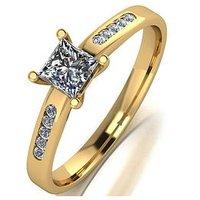 Love DIAMOND Love Diamond 9ct Gold Princess Cut Centre 50pts total Diamond Solitaire ring, Gold, Size R, Women