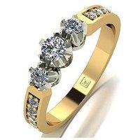 Love DIAMOND Lady Lynsey 9ct 50pts total 3 Stone centre Diamond Trilogy Ring, Gold, Size N, Women