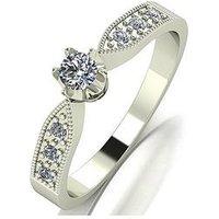 Love DIAMOND Love Diamond 9ct white Gold 25pts total Diamond Solitaire Ring, White Gold, Size S, Women