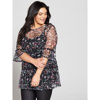 V by Very Curve Printed Mesh Tunic, Print, Size 20, Women