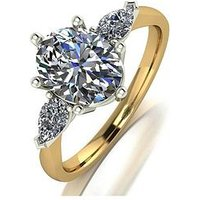 MOISSANITE 9CT GOLD 2.5ct Eq total OVAL and PEAR SHAPED TRILOGY RING, White Gold, Size S, Women