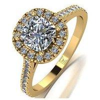 Moissanite MOISSANITE PREMIER 9CT GOLD 1.5ct Eq TOTAL CUSHION CUT CENTRE HALO RING With Diamond Set Logo, Gold, Size O, Women