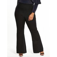 V by Very Curve Ponte Kickflare Pull On Trouser, Black, Size 16, Women