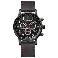 Wenger Attitude Black Chronograph Dial 44mm Stainless Steel PVD Black Case, Black Leather Strap Mens Watch, One Colour, Men