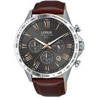 Lorus Lorus Mens grey chronograph brown leather strap watch, One Colour, Men