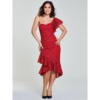 Myleene Klass One Shoulder Wrap Lace Pencil Dress - Red , Red, Size 18, Women