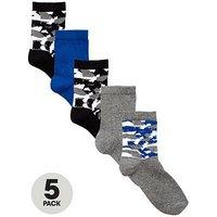 Boys, V by Very 5 Pack Camo Fashion Socks, Multi, Size 9-12