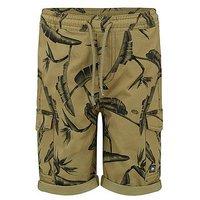 Animal Boys Green Cargo Shorts, Green, Size 11-12 Years