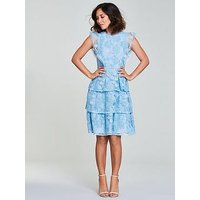 Myleene Klass Lace Tiered Dress - Blue , Blue, Size 8, Women