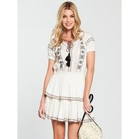 V by Very Embroidered Tiered Skater Dress - Ivory, Ivory, Size 16, Women