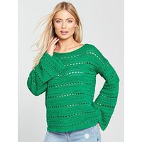 V by Very Pointelle Detail Flare Cuff Jumper- Green, Green, Size 14, Women